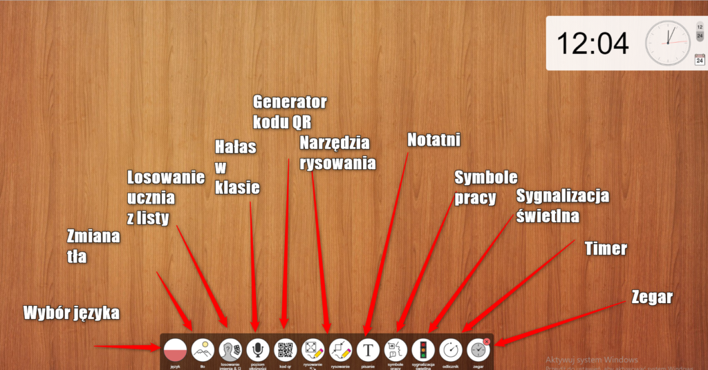 Classroomscreen - narzędzia